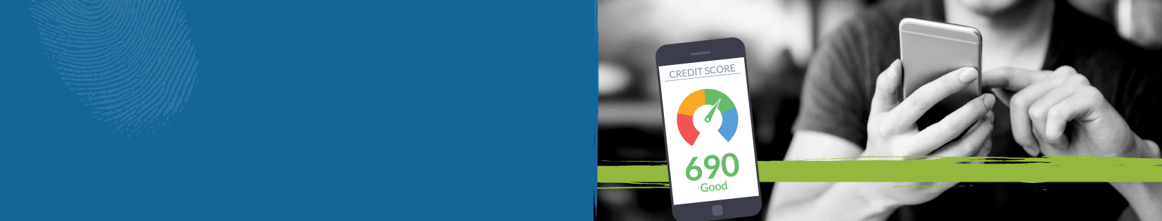 banner showing a person obtaining their credit score via their smartphone